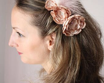 Pink beige nude and dusty flower hair comb