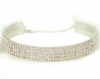 Faux Diamond 5 Row Crystal Rhinestone Bling Choker Necklace