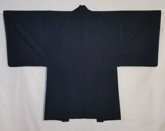 Men's Silk Haori kimono jacket - deep indigo tsumugi silk - unused