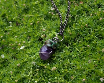 Amethyst Berry Choker Necklace / Sculpted Clay Leaves /  Wire Wrapped Silver Chain / Aubergine /   Cute / Gemstone /
