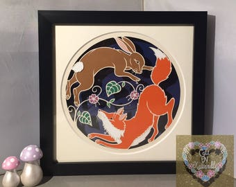 Fox and Hare Framed Papercut