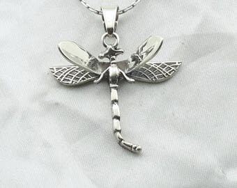 "Lovely Large Dragonfly Vintage Sterling Silver Pendant.  16"" Sterling Silver Chain Included! #DRAGONFLY-SPC5"