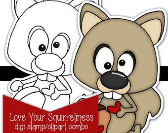 Love Your Squirreliness Digi Digital Stamp Clipart Kit Printable Color page INSTANT Download