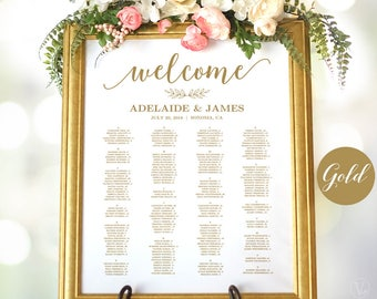 Gold Wedding Seating Chart Template, Wedding Seating Chart Poster, Elegant Gold Seating Chart, Editable, Modern Calligraphy, VW10GOLD