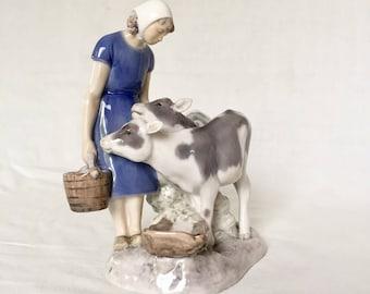 Girl and Calves Figurine by Bing & Grondahl Denmark