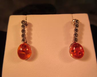 Delicate Sterling Silver Marcasite Amber Drop Earrings