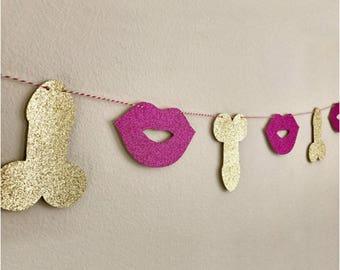 JOY-ENLIFE 10pcs/set Glitter Willy Penis & Lips Banner Garland Bachelorette Party Decor Bachelorette Bunting Hen Party Supplies