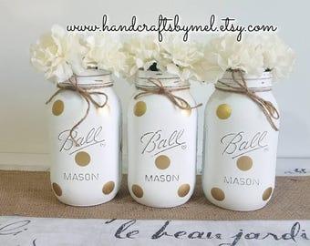 Gold Polka Dot Mason Jar Vases, White & Gold Wedding Decor, Shabby Chic Centerpieces, Quart Mason Jars, Mason Jar Decor, Polka Dot Shower