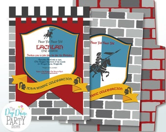 Medieval Knight Party Printable Invitation in Blue, Red & Yellow, Instant Download