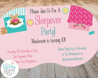 Sleepover/Slumber Party Printable Invitation, 5x7in - Pink and Teal - Double-Sided - Instant Download - Girls Birthday Parties