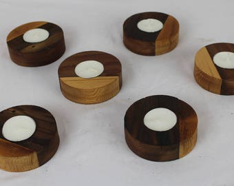 """Reclaimed Old Growth 2x4 """"Hockey Puck"""" Candle Holders"""