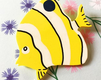 Handmade Tropical Fish Brooch - Butterfly Fish