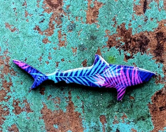 Shark Necklace / Shark Brooch - Tiger Shark Necklace or Brooch Handmade by Honoloulou's - Funky Leopard