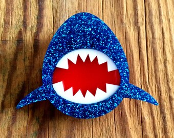 Glitter Blue JAWS Acrylic Shark Brooch