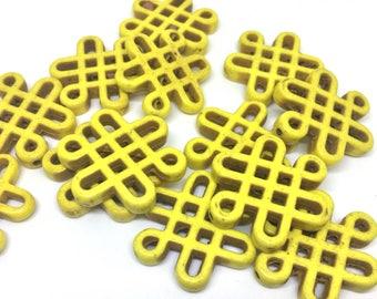 Yellow Chinese Knot Beads, 28mm beads, acrylic beads, yellow beads, bracelet necklace earrings, jewelry making, yellow bracelet, yellow jewe