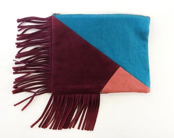 Mosaic Fringe Clutch - Blue