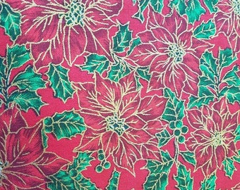 Christmas - poinsettia (red). Cotton fabric