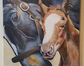 Free shipping, Mare and colt, 60cm x 46cm, Horse paintings, Original oil painting