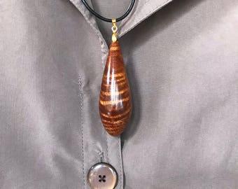 Handcrafted Hawaiian Koa Wood Pendant/Necklace Made In Hawaii