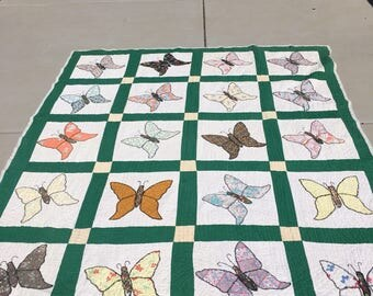 Vintage Butterfly Quilt 81 X 67 Inches
