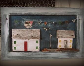 """Tableau décoratif en matériaux de récupération """"Les petites maisons"""" / Esprit récup' / Bois recyclé / Art naif"""