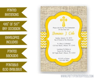 Spring Yellow Baptism Invitation Boys - Christening Invite - Chevron Baptism Invitation - Spanish - Country - Trendy - Fast - Personalized