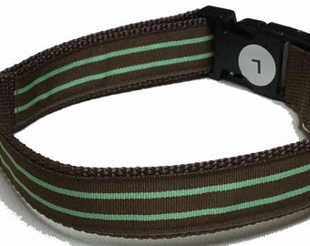 Dog Collar, Stripe - Brown and Mint Green