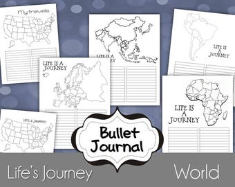 World Travels Bullet Journal Printable Pages, for use as an Erin Condren Insert or Happy Planner Size 9x7