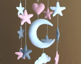 Moon and stars mobile-Moon and stars hanging- Moon and stars nursery
