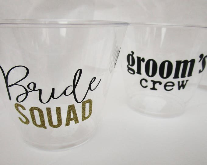Bride Squad Cups / Bride Cup / Bachelorette Party / Bridal Party / Wedding Shot Glass / Bridal Party Favor / Bachelorette Party Custom Cups