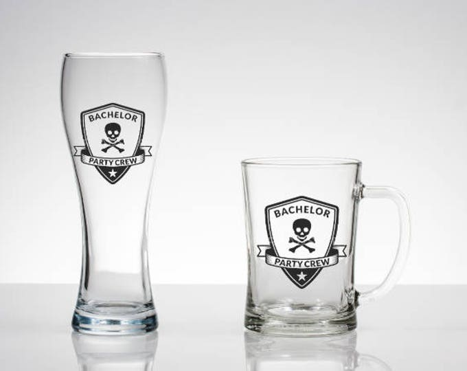Custom Bachelor Party Crew Glass / Beer Glass Gift / Custom Pilsner Glass / Wedding Favor / Grooms Crew / Groomsmen Gift / Bachelor Party