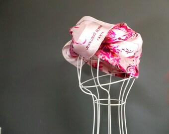 Large Pink Floral Square Headscarf. Jean-Louis Scherrer Vintage pink scarf with stripes .