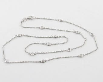 "14K White Gold Diamond Station Necklace By The Yard 18"" 0.39 carat"