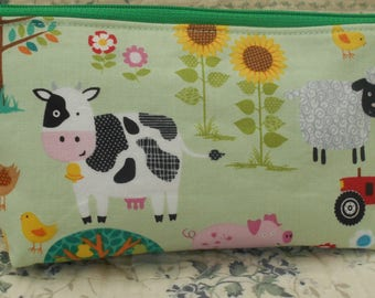 Pencil case-Farmyard pencil case-Tractor pencil case-Farm animals-Gift for child-Fabric pencil case-Back to school