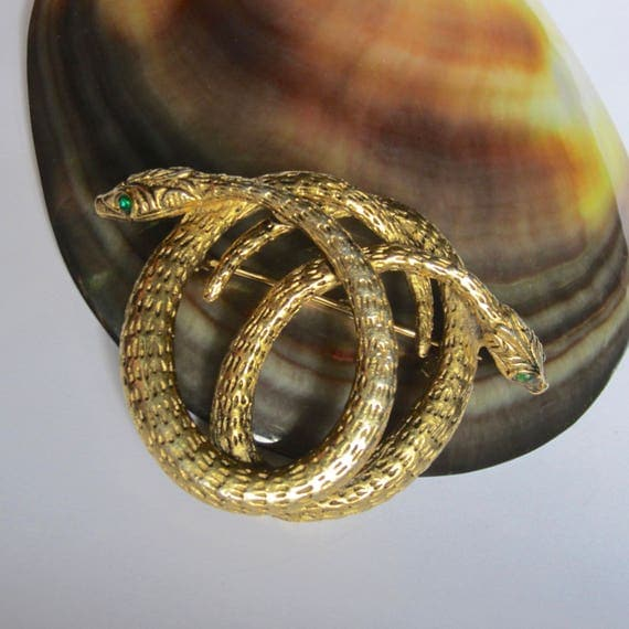 Double SNAKE pin with green crystal eyes ~well-made, vintage costume jewelry