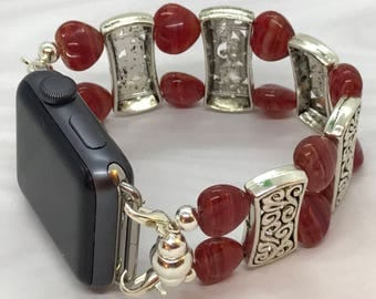 Red Fruit Punch Hearts - Apple Watch Band 42 Apple iWatch Band Stretch Apple Band Beaded Watch Band Bracelet Apple Band Tech Jewelry