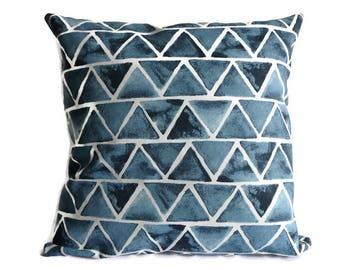 Pillowcase ,abstract throw pillow 16x16, blue batik pillow cover, cushion cover, graphic cushion cover, decorative  pillowcase ,