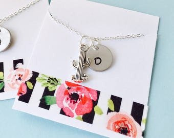 Cactus Necklace, Best Friends  Necklace, Cactus Jewelry, Matching Necklaces, Cactus Initial Necklace, Friendship Jewelry