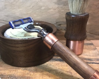 Mens wet shave bowl, badger shave brush and safety razor set in Walnut and Copper (style 2)