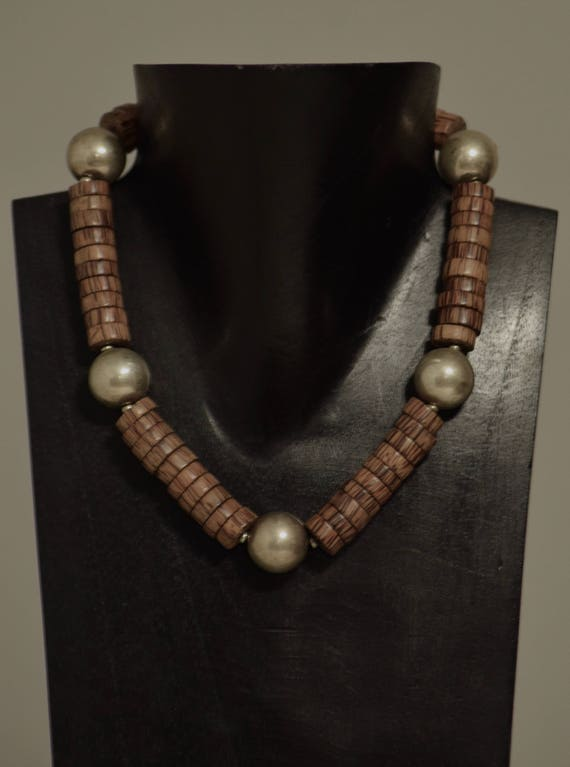 Necklace Philippine Natural Palmwood Discs Silver Beads Handmade Jewelry Bright Silver Palmwood Disc Beaded Necklace