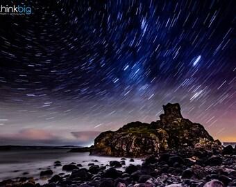 Ireland Kinbane Castle - Star Trails Photography - Starry Night Sky - Dramatic Astro Space - Photograph Photo Print - Home Decor Wall Art