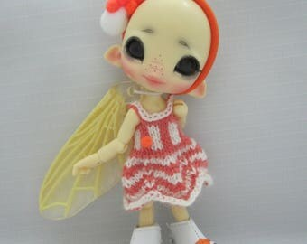 Micro knitted ORANGE dress for CCC BeeWithMe/Fidelina/Fuugalina