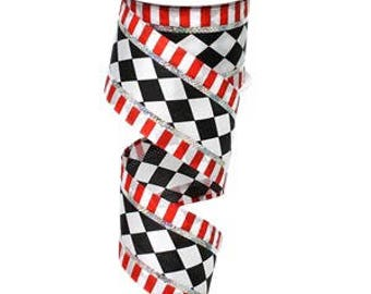 "2.5"" Black White Harlequin Ribbon, Red Black Harlequin Ribbon, Christmas Harlequin Ribbon, Wired (10 Yards) - X437640-02"
