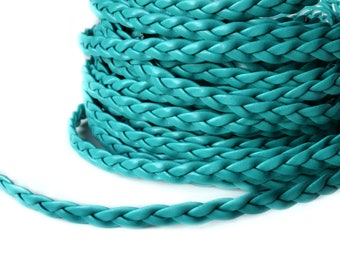 Green Blue braided imitation leather width 5 mm cord