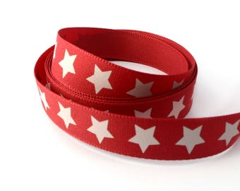 Ribbon star red 15 mm