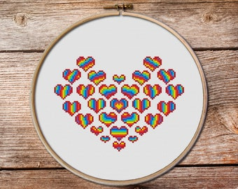 Heart Cross Stitch Pattern, rainbow heart cross stitch, valentine day gift, lovely cross stitch, heart cross stitch, rainbow cross stitch
