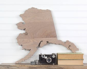 """Alaska state shape wood cutout sign wall art with star or heart. Repurposed Oak 17x21"""". Wedding Guestbook Farmhouse Rustic Country Decor"""