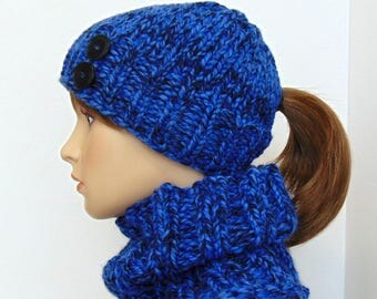 Blue Ponytail Hat and Cowl Set Ponytail Beanie Chunky Scarf Low Ponytail Hat Pony Tail Hat Set Gift for Her Handmade in Alaska