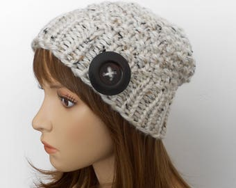 Chunky Knit Beanie Hat Moss Stitch Fall Beanie Oatmeal Tweed Ivory Wood Button Made in Alaska Women Teen