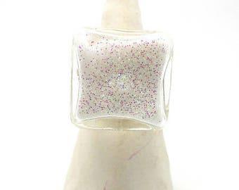 Ring globe square model small white glitter